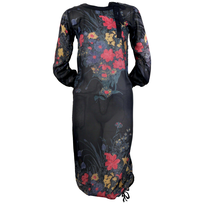 1970's SONIA RYKIEL floral silk dress with drawstring hemline