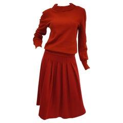 1970s Sonia Rykiel Red Wool Skirt and Sweater Set