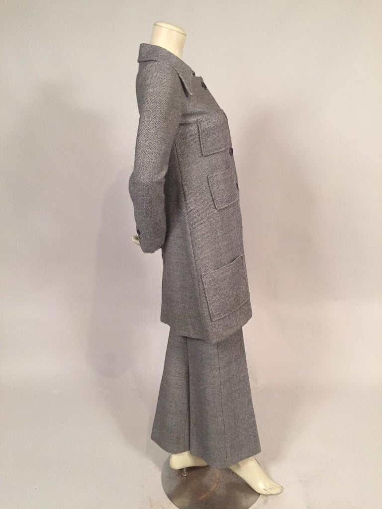 Gray 1970's Sonia Rykiel Wool Tweed Six Pocket Coat and Matching Trousers For Sale
