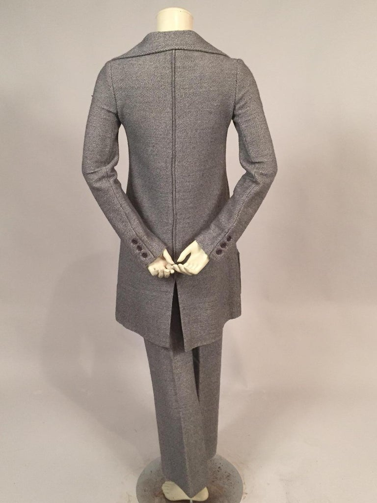 1970's Sonia Rykiel Wool Tweed Six Pocket Coat and Matching Trousers In Excellent Condition For Sale In New Hope, PA