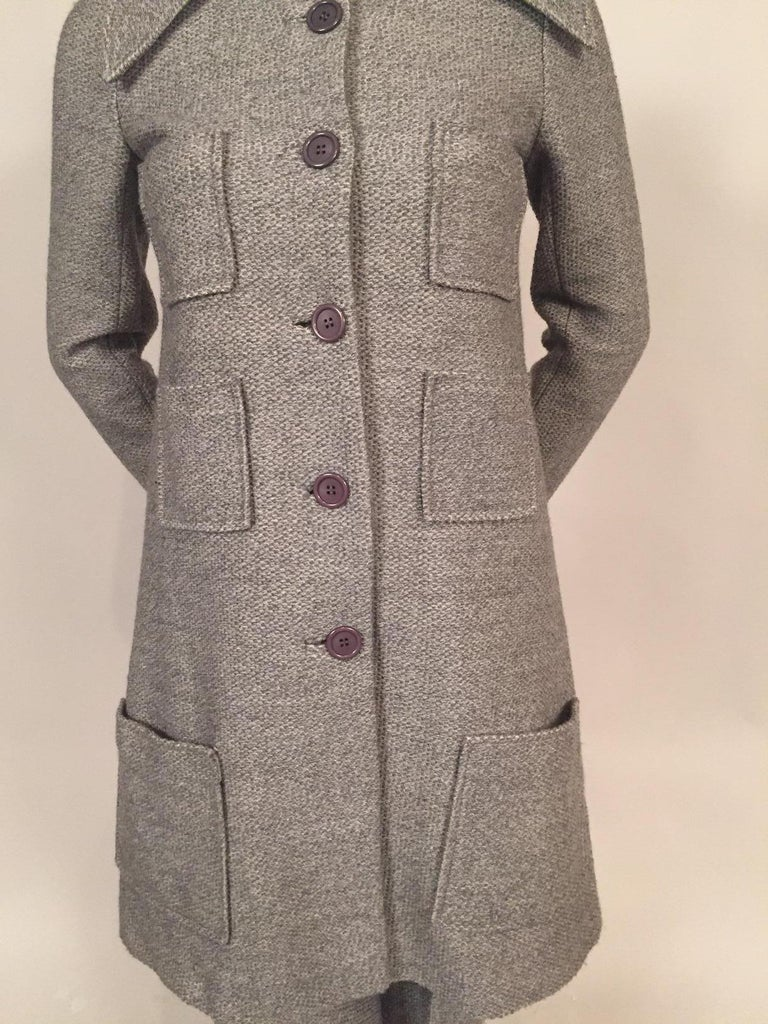 1970's Sonia Rykiel Wool Tweed Six Pocket Coat and Matching Trousers For Sale 1