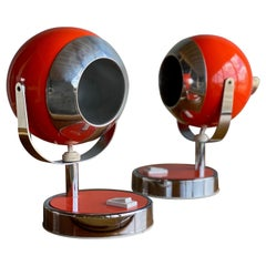 1970s Space Age Bedside Lamps in Retro-Orange