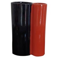 1970s Space Age Black and Orange Vase in Ceramic by Gabbianelli, Made in Italy