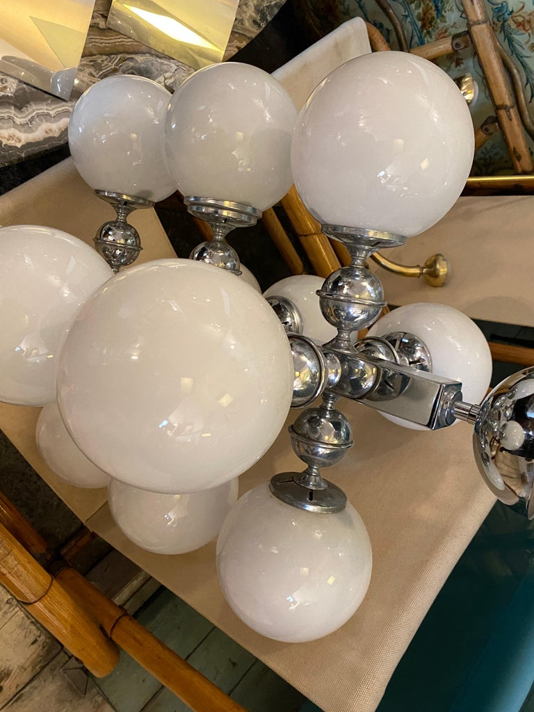 1970s Space Age Chromed Metal and Opaline Italian Chandelier by Reggiani For Sale 7