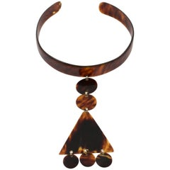 1970s Space Age Courreges Style Celluloid Dog Collar Necklace Tortoiseshell