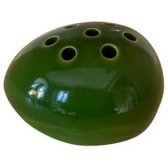 1970s Space Age Green Vase in Ceramic by Gabbianelli, Made in Italy