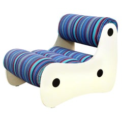 1970s Space Age Lounge Chair in Blue Striped Wool