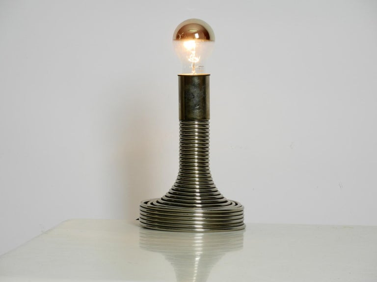 1970s Space Age Metal Chrome Table Lamp by Angelo Mangiarotti for Candle For Sale 1