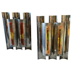 1970s Space Age Set of Huge Wall Lights Designed by Angelo Brotto for Esperia