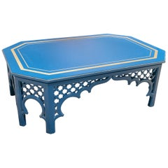 1970s Spanish Al-Andalus Inspired Wood and Brass Blue Coffee Table