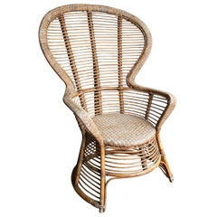1970s Spanish Armchair of Bamboo Wicker Tall Back Rest