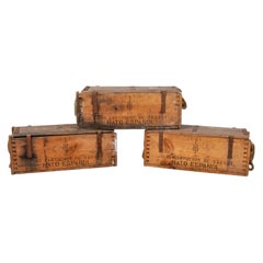 1970s Spanish Army Wooden Ammunition Boxes with Iron Fittings