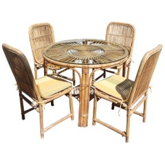 1970s Spanish Bamboo 4-Piece Dinning Set