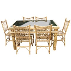1970s Spanish Bamboo and Rattan 6-Seat Dinning Set