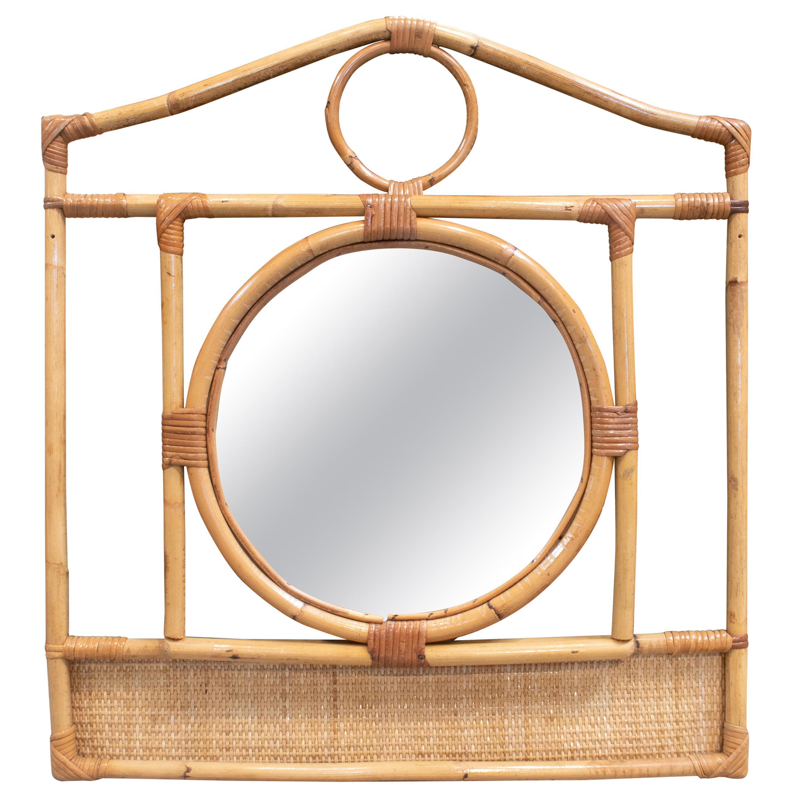 1970s Spanish Bamboo and Rattan Mirror