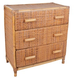 1970s Spanish Bamboo and Rattan Three-Drawer Chest