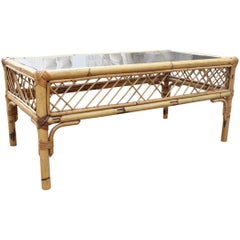 1970s Spanish Bamboo and Smoked Mirror Top Coffee Table