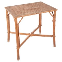 1970s Spanish Bamboo and Wicker Side Table