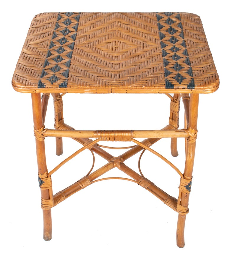 1970s Spanish Bamboo and Wicker Three Armchairs, Sofa and Table Set For Sale 9