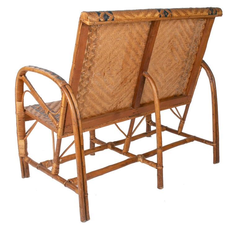 1970s Spanish Bamboo and Wicker Three Armchairs, Sofa and Table Set In Good Condition For Sale In Malaga, ES