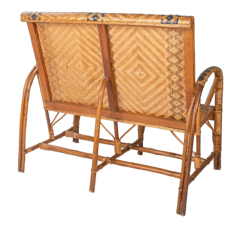 20th Century 1970s Spanish Bamboo and Wicker Three Armchairs, Sofa and Table Set For Sale
