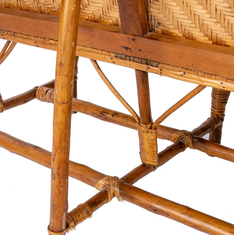 1970s Spanish Bamboo and Wicker Three Armchairs, Sofa and Table Set For Sale 1
