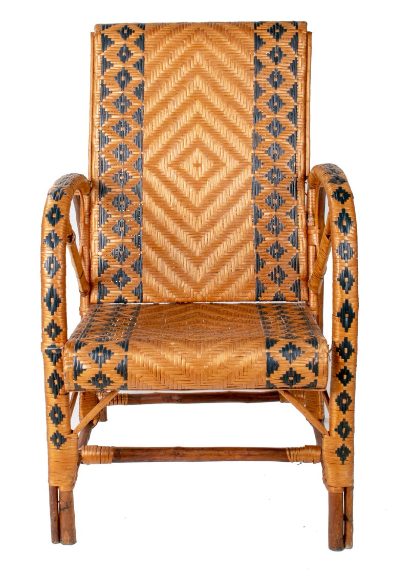1970s Spanish Bamboo and Wicker Three Armchairs, Sofa and Table Set For Sale 3