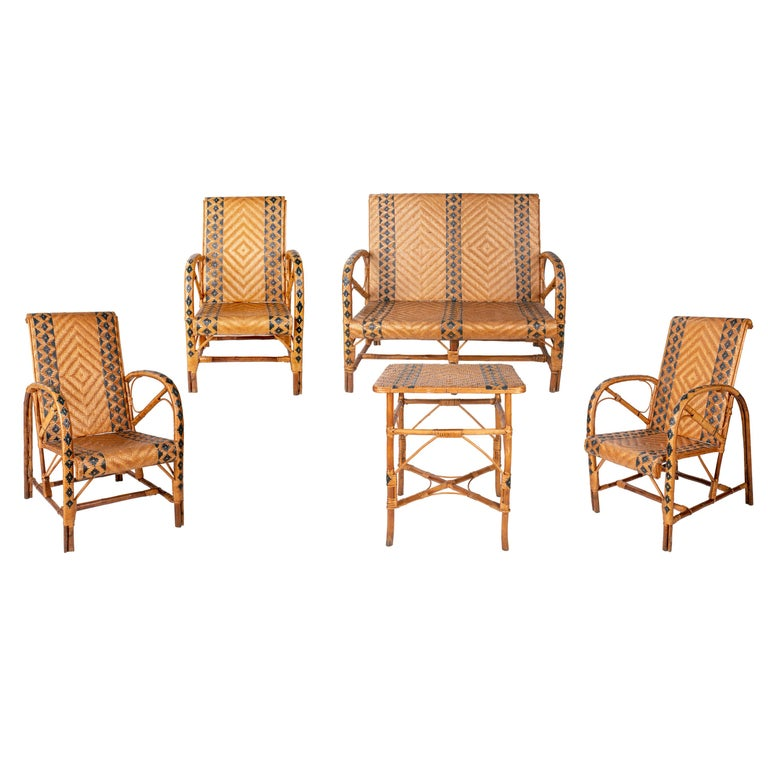 1970s Spanish Bamboo and Wicker Three Armchairs, Sofa and Table Set For Sale