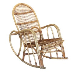 1970s Spanish Bamboo and Willow Wicker Rocking Chair