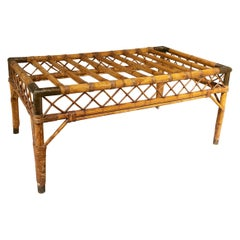 1970s Spanish Bamboo Coffee Table Base with Bronze Reinforced Corners