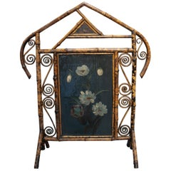 1970s Spanish Bamboo Fire Screen with Flower Painting