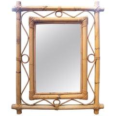 1970s Spanish Bamboo Framed Mirror