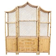 1970s Spanish Bamboo Oriental Style Bookshelf