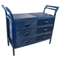1970s Spanish Blue 3-Drawer Bamboo and Wicker Chest