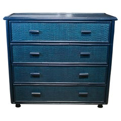 1970s Spanish Blue 4-Drawer Bamboo and Wicker Chest