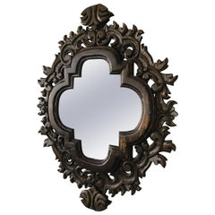 1970s Spanish Carved Wood Mirror