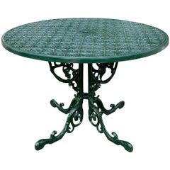 1970s Spanish Cast Iron Round Green Garden Table