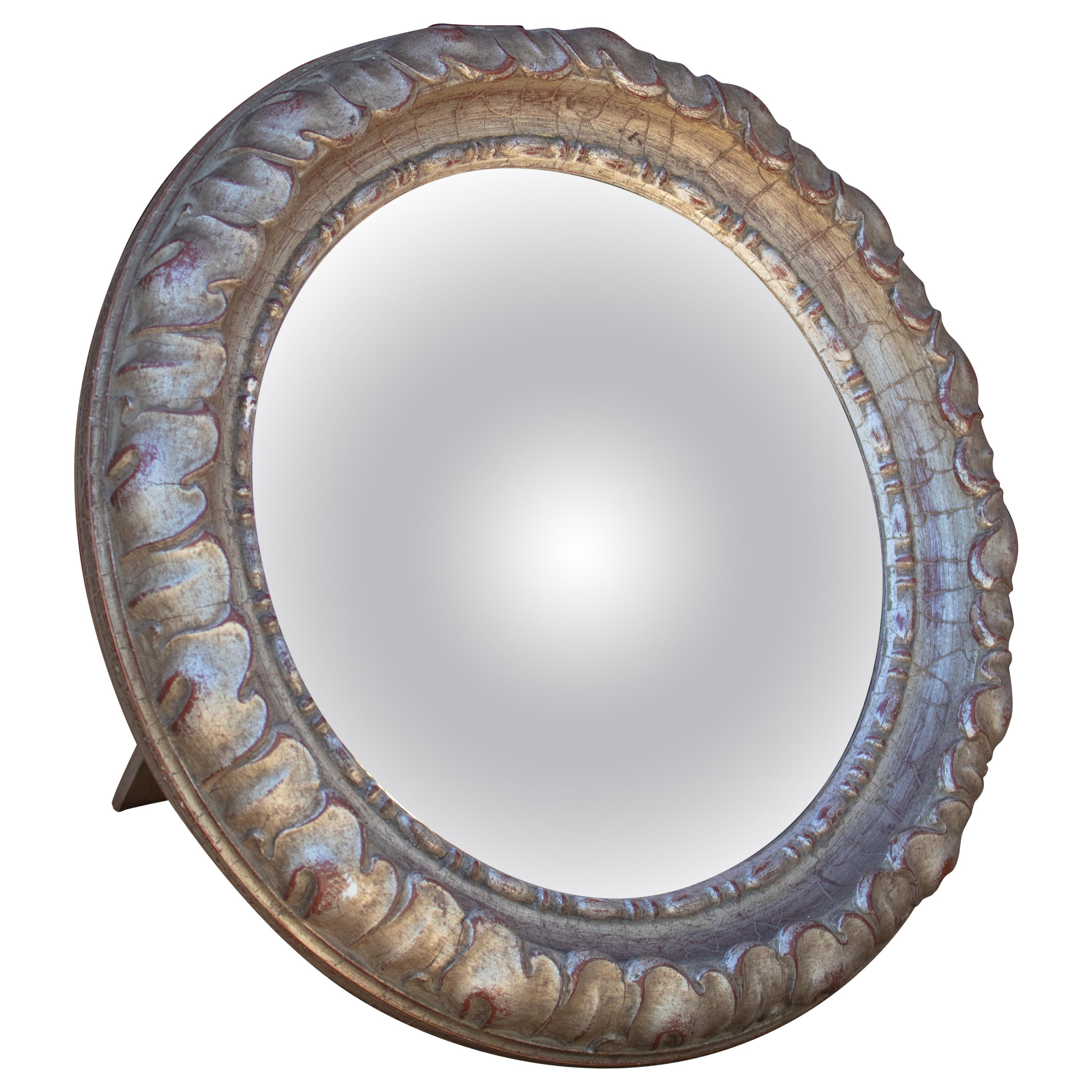 1970s Spanish Convex Table Mirror with Golden Frame