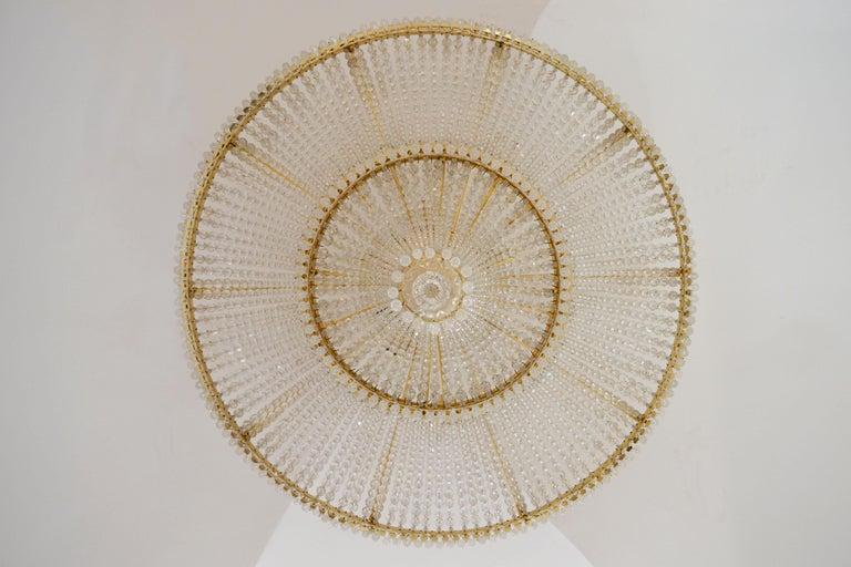 Mid-Century Modern 1970s Spanish Design Round Swarovski Crystal Chandelier For Sale