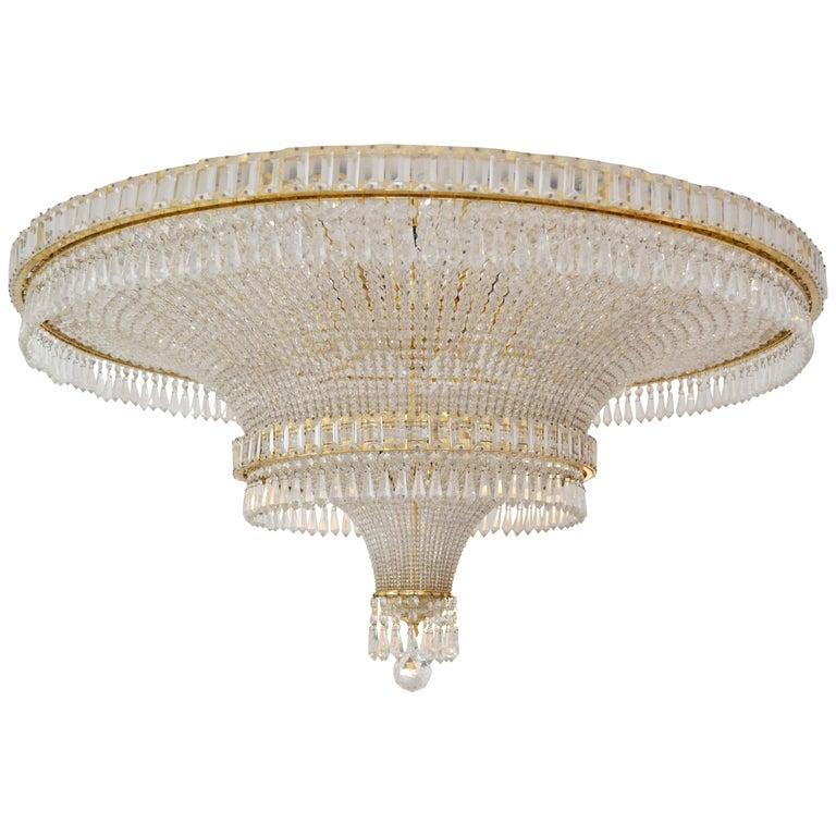 1970s Spanish Design Round Swarovski Crystal Chandelier For Sale