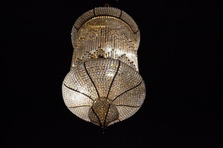 Mid-Century Modern 1970s Spanish Designed Swarovski Crystal Lantern / Chandelier For Sale