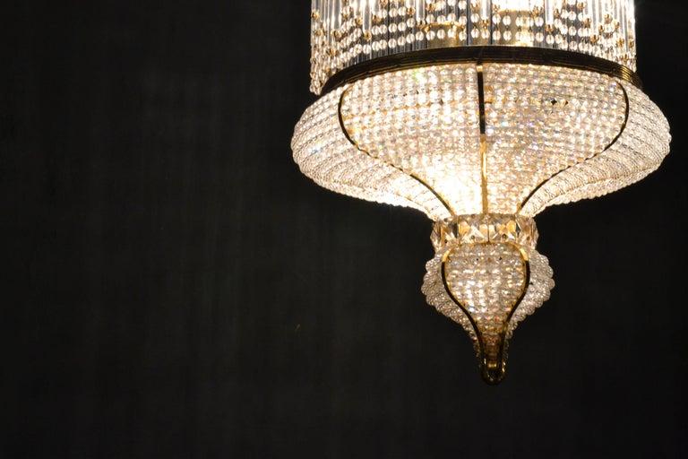 1970s Spanish Designed Swarovski Crystal Lantern / Chandelier In Good Condition For Sale In Madrid, ES