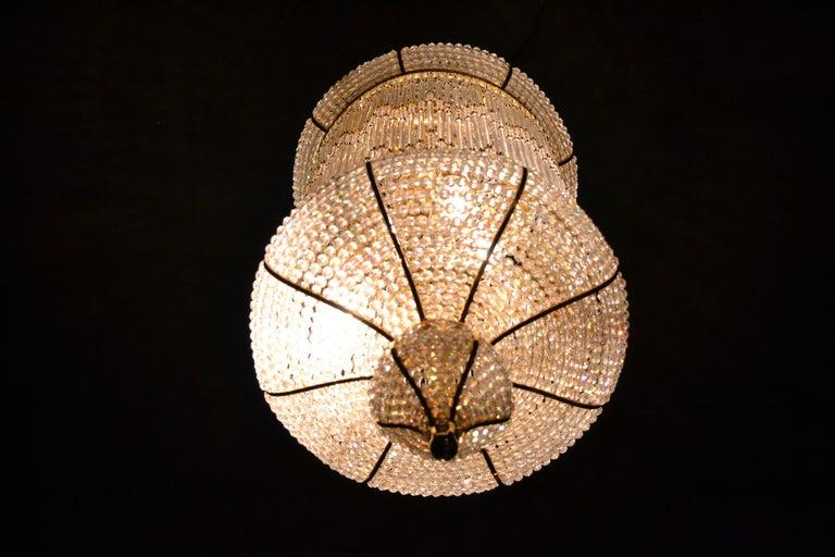 Late 20th Century 1970s Spanish Designed Swarovski Crystal Lantern / Chandelier For Sale