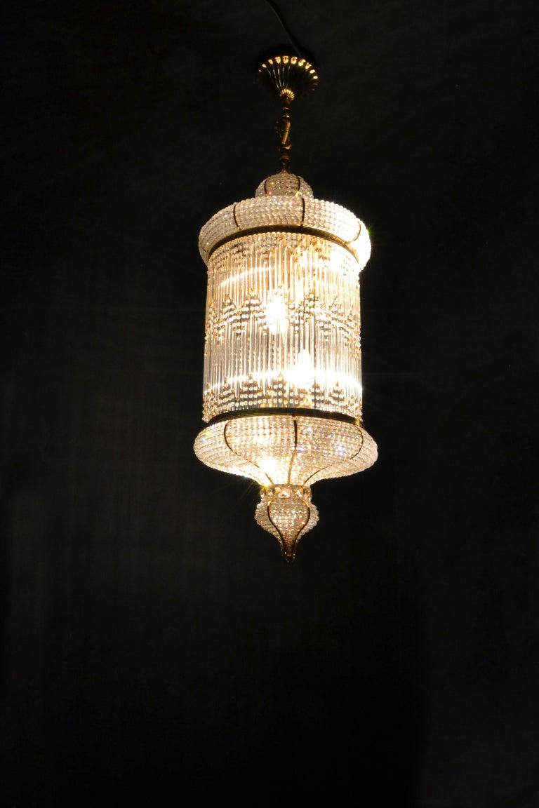 1970s Spanish Designed Swarovski Crystal Lantern / Chandelier For Sale 1