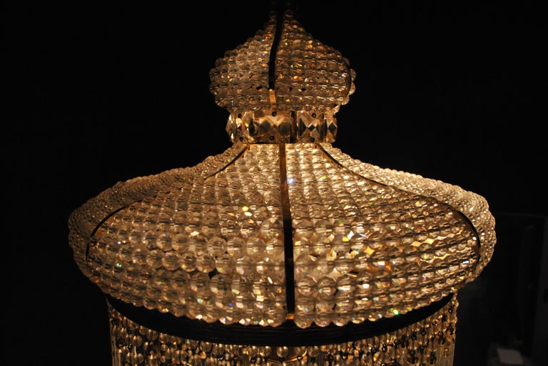 1970s Spanish Designed Swarovski Crystal Lantern / Chandelier For Sale 2