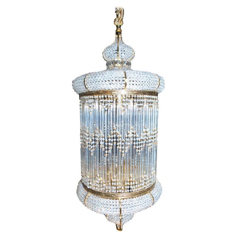 1970s Spanish Designed Swarovski Crystal Lantern / Chandelier For Sale