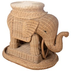 1970s Spanish Elephant Weaved Rattan Side Table