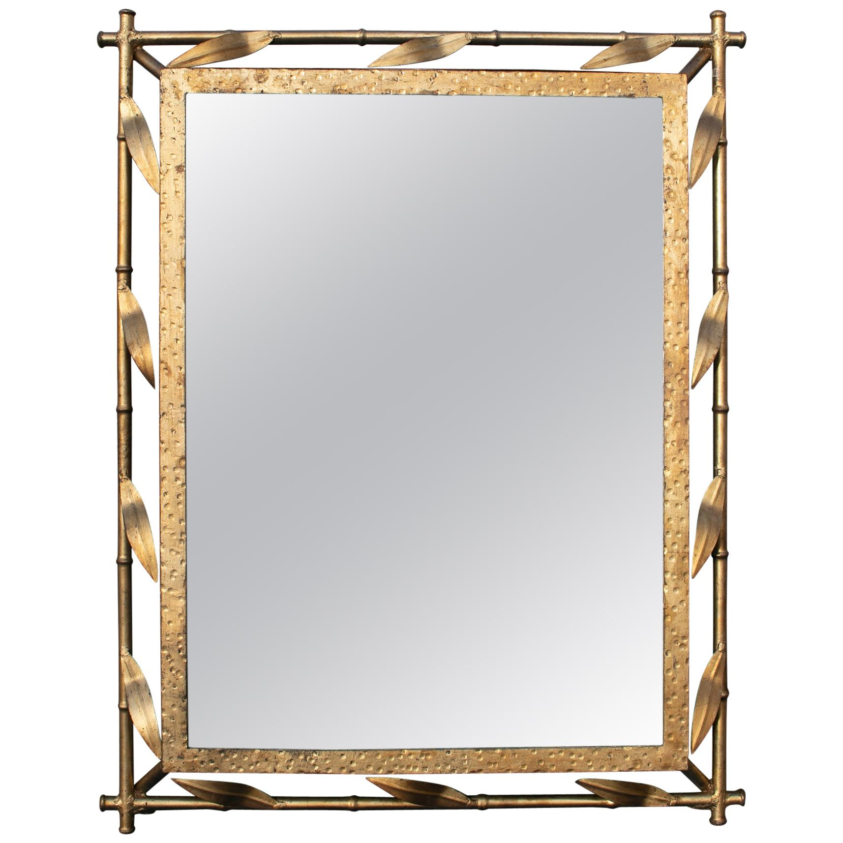 1970s Spanish Faux Bamboo and Leafs Golden Iron Mirror