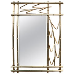 1970s Spanish Faux Bamboo Golden Iron Mirror