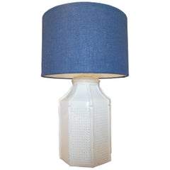 1970s Spanish Faux Woven Wicker & Bamboo White Glazed Terracotta Table Lamp